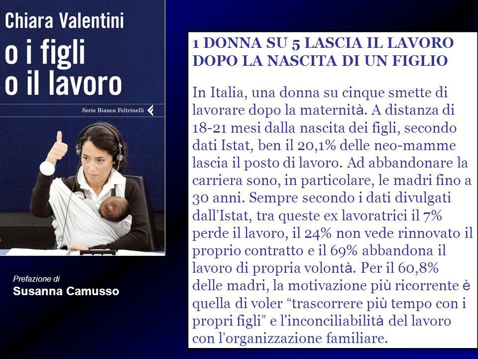 Prefazione di Susanna Camusso 1 DONNA SU 5 LASCIA IL LAVORO DOPO LA NASCITA DI UN FIGLIO In Italia, una donna su cinque smette di lavorare dopo la maternit à.