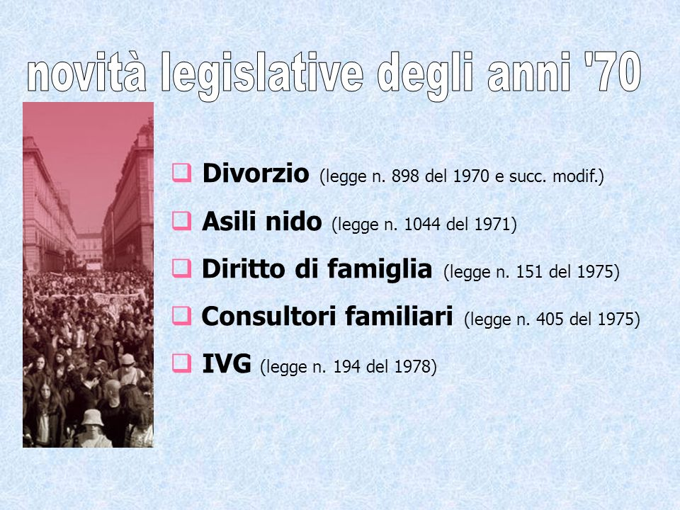 Divorzio (legge n. 898 del 1970 e succ. modif.) Asili nido (legge n.