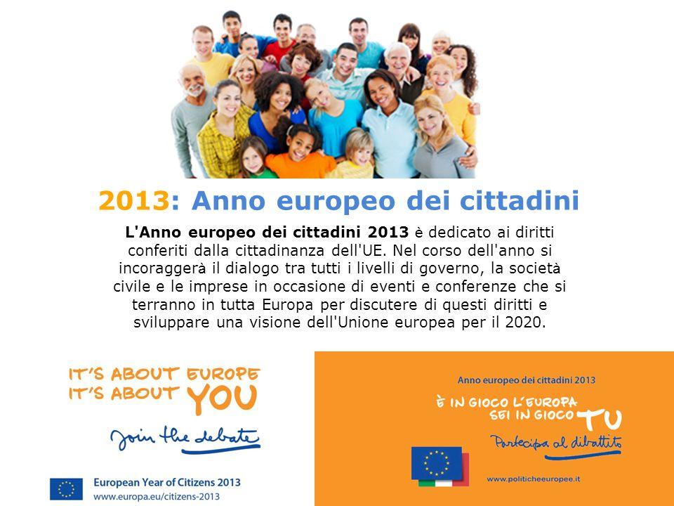 2013: Anno europeo dei cittadini L Anno europeo dei cittadini 2013 è dedicato ai diritti conferiti dalla cittadinanza dell UE.