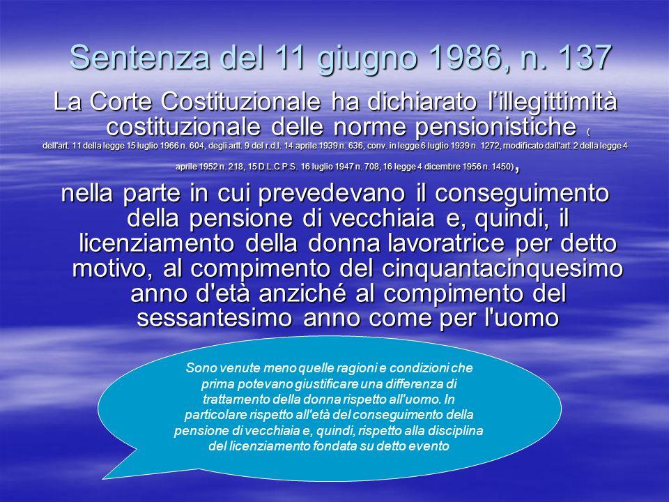 Sentenza del 11 giugno 1986, n. 137 La Corte Costituzionale ha dichiarato lillegittimità costituzionale delle norme pensionistiche ( dell'art. 11 dell
