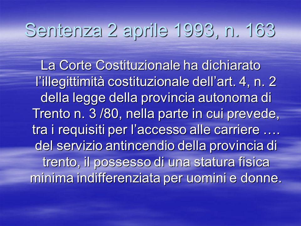 Sentenza 2 aprile 1993, n. 163 La Corte Costituzionale ha dichiarato lillegittimità costituzionale dellart. 4, n. 2 della legge della provincia autono