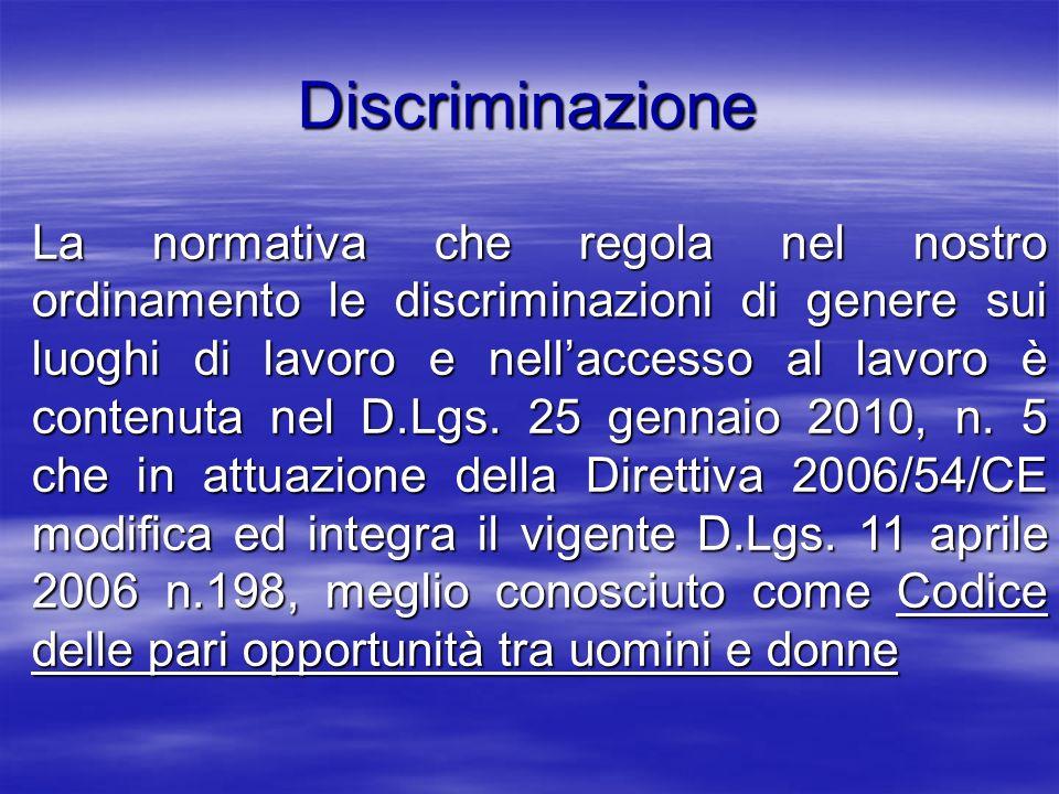 Discriminazione La normativa che regola nel nostro ordinamento le discriminazioni di genere sui luoghi di lavoro e nellaccesso al lavoro è contenuta n