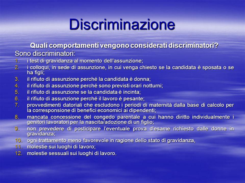 Discriminazione Quali comportamenti vengono considerati discriminatori? Sono discriminatori: 1.i test di gravidanza al momento dellassunzione; 2.i col
