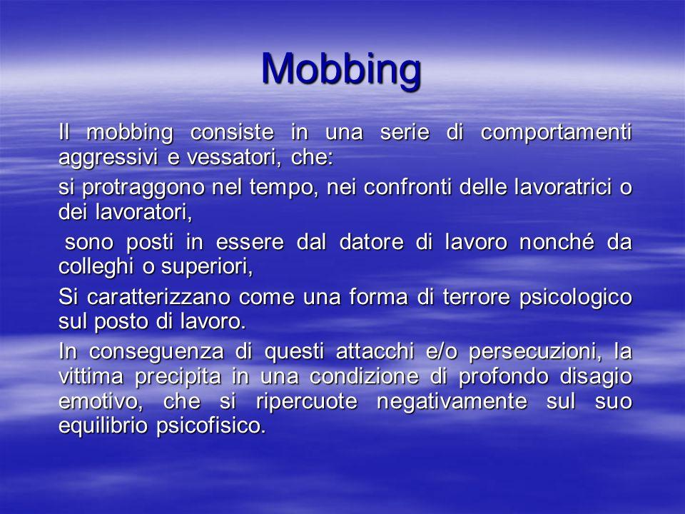 Mobbing Il mobbing consiste in una serie di comportamenti aggressivi e vessatori, che: si protraggono nel tempo, nei confronti delle lavoratrici o dei