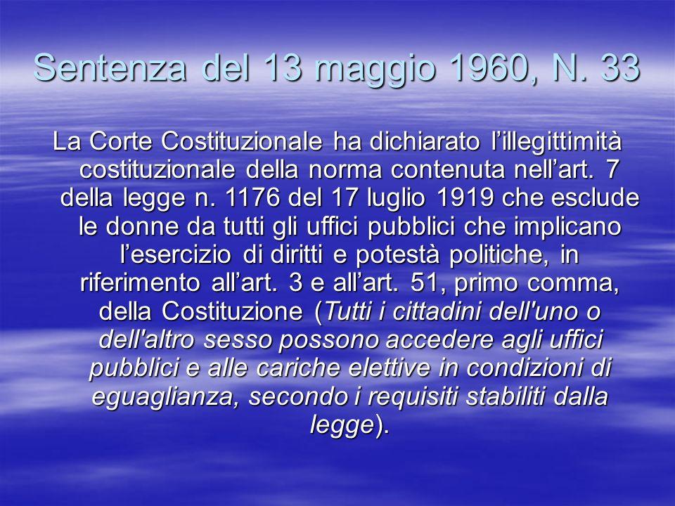 Sentenza del 13 maggio 1960, N. 33 La Corte Costituzionale ha dichiarato lillegittimità costituzionale della norma contenuta nellart. 7 della legge n.