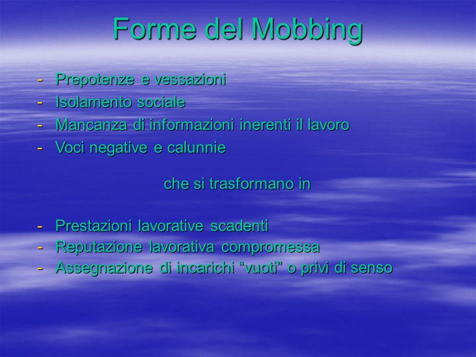 Forme del Mobbing -Prepotenze e vessazioni -Isolamento sociale -Mancanza di informazioni inerenti il lavoro -Voci negative e calunnie che si trasforma