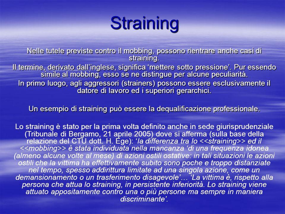 Straining Straining Nelle tutele previste contro il mobbing, possono rientrare anche casi di straining. Il termine, derivato dallinglese, significa me