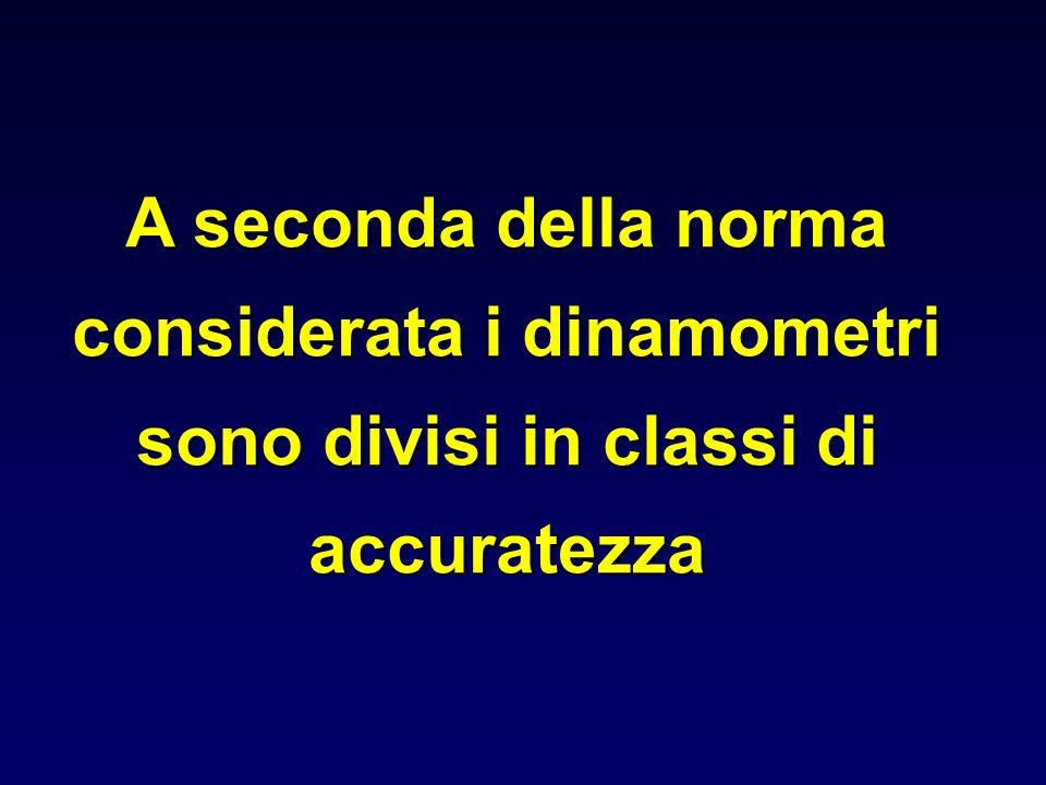 A seconda della norma considerata i dinamometri sono divisi in classi di accuratezza