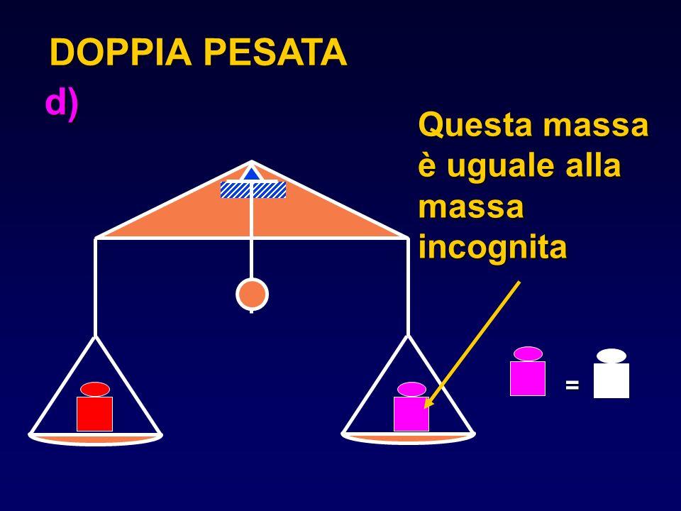 Questa massa è uguale alla massa incognita DOPPIA PESATA = d)