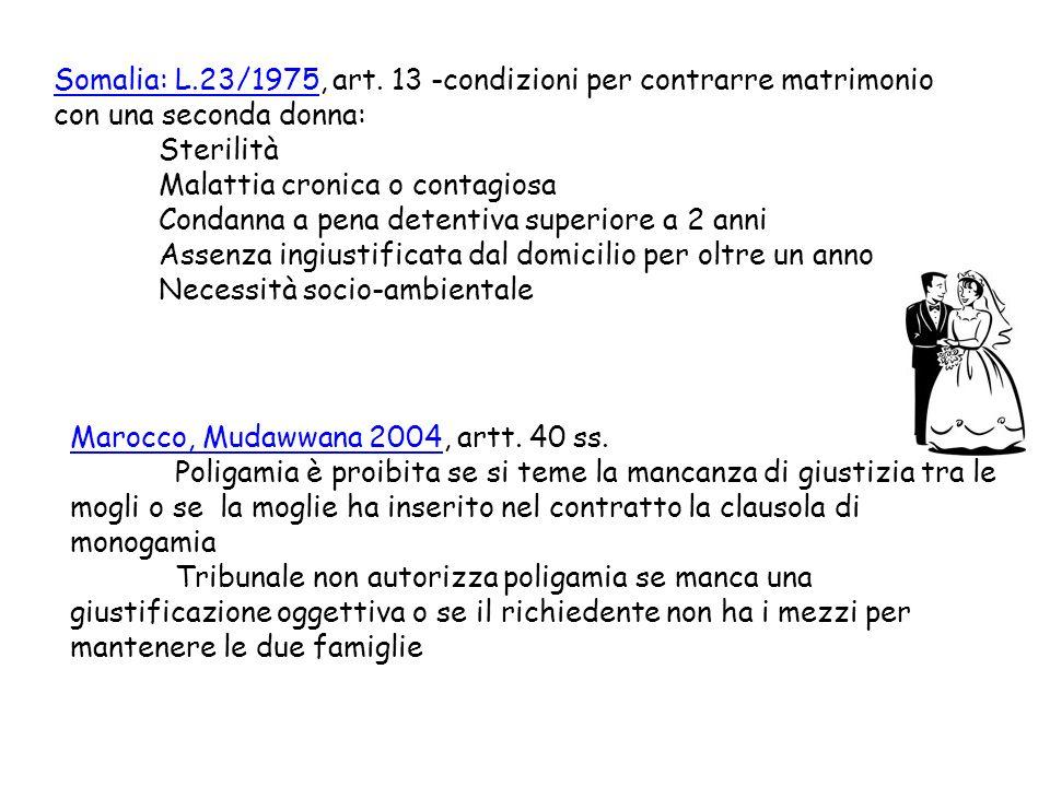 Somalia: L.23/1975, art. 13 -condizioni per contrarre matrimonio con una seconda donna: Sterilità Malattia cronica o contagiosa Condanna a pena detent