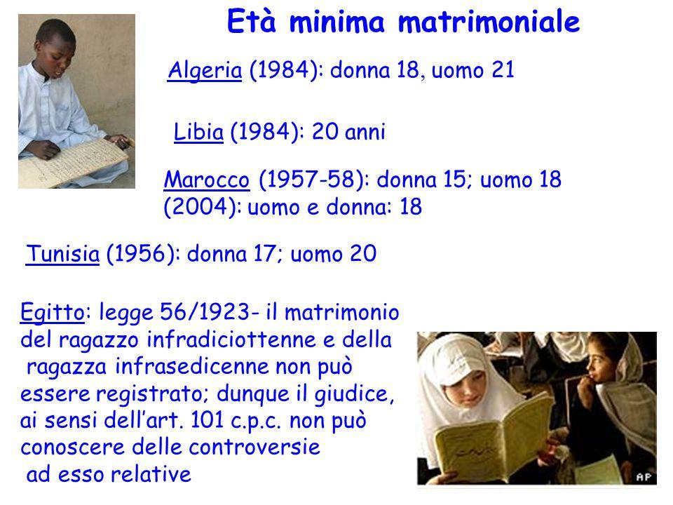 Età minima matrimoniale Algeria (1984): donna 18, uomo 21 Libia (1984): 20 anni Marocco (1957-58): donna 15; uomo 18 (2004): uomo e donna: 18 Tunisia (1956): donna 17; uomo 20 Egitto: legge 56/1923- il matrimonio del ragazzo infradiciottenne e della ragazza infrasedicenne non può essere registrato; dunque il giudice, ai sensi dellart.