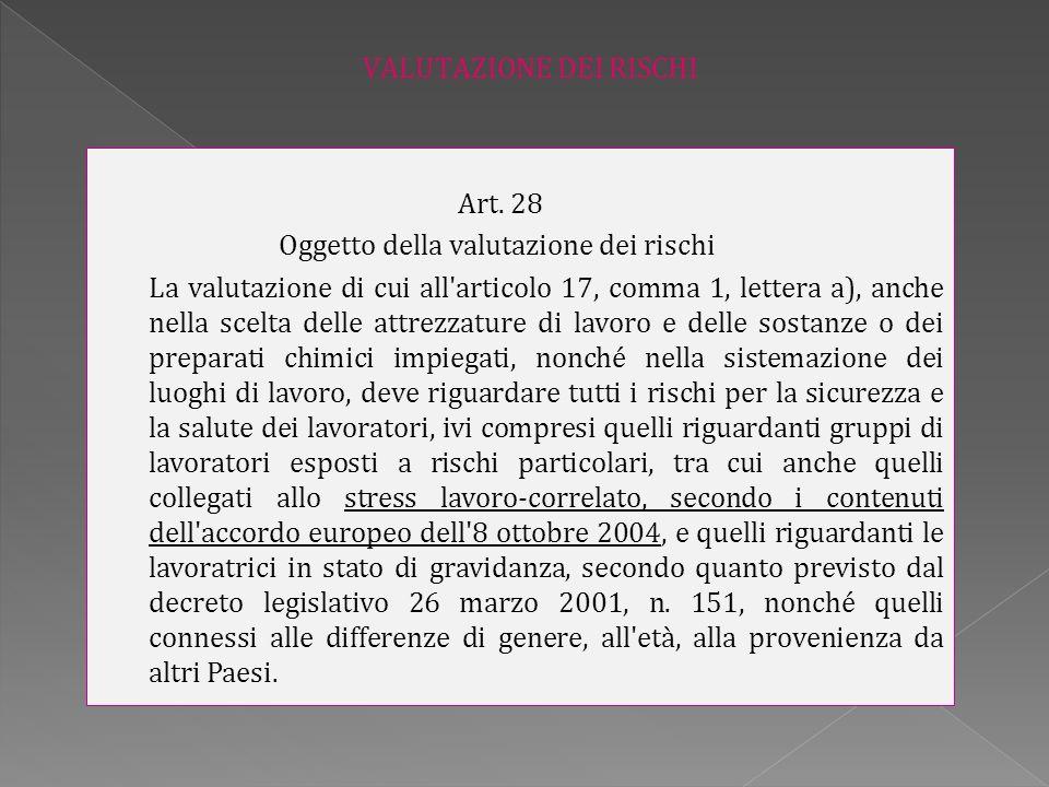 Art. 28 Oggetto della valutazione dei rischi La valutazione di cui all'articolo 17, comma 1, lettera a), anche nella scelta delle attrezzature di lavo