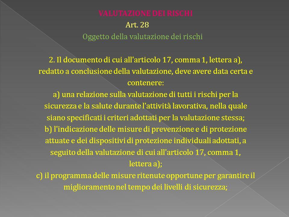 VALUTAZIONE DEI RISCHI Art. 28 Oggetto della valutazione dei rischi 2.