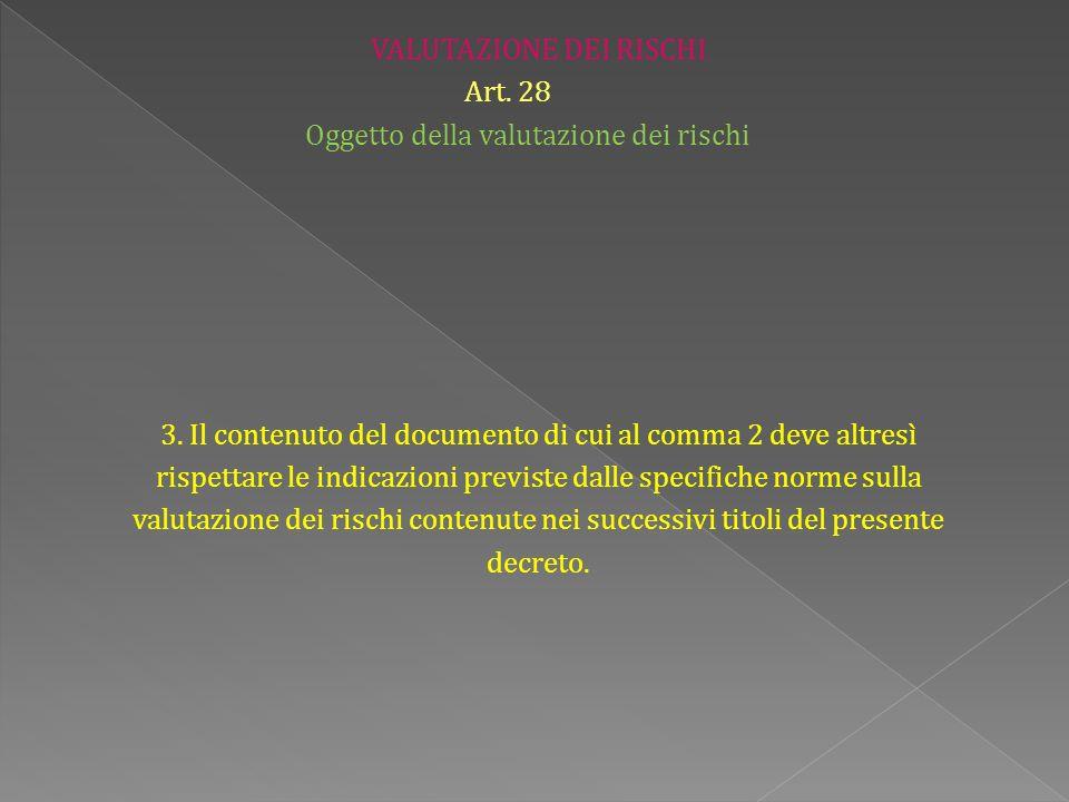 VALUTAZIONE DEI RISCHI Art. 28 Oggetto della valutazione dei rischi 3.