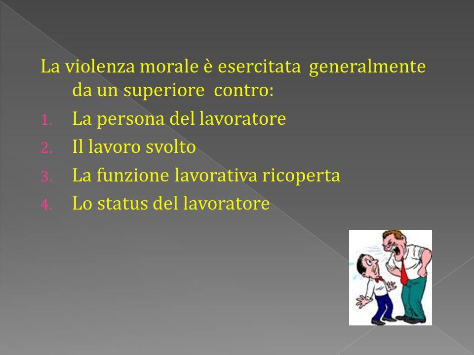La violenza morale è esercitata generalmente da un superiore contro: 1.