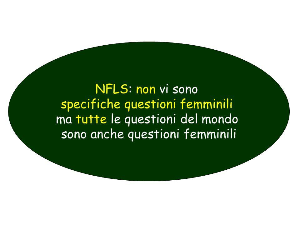 NFLS: non vi sono specifiche questioni femminili ma tutte le questioni del mondo sono anche questioni femminili