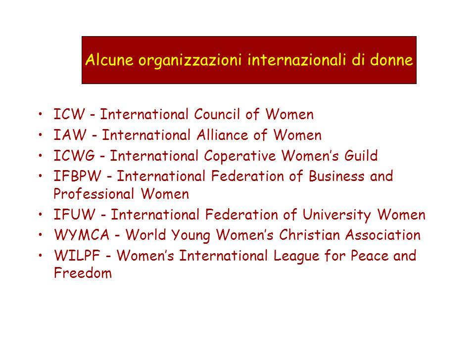 Alcune organizzazioni internazionali di donne ICW - International Council of Women IAW - International Alliance of Women ICWG - International Coperati