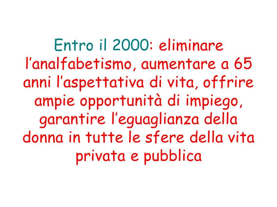 Entro il 2000: eliminare lanalfabetismo, aumentare a 65 anni laspettativa di vita, offrire ampie opportunità di impiego, garantire leguaglianza della