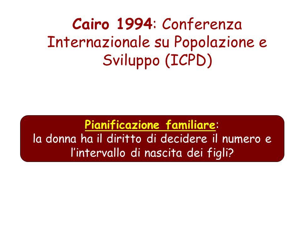 Cairo 1994: Conferenza Internazionale su Popolazione e Sviluppo (ICPD) Pianificazione familiare: la donna ha il diritto di decidere il numero e linter