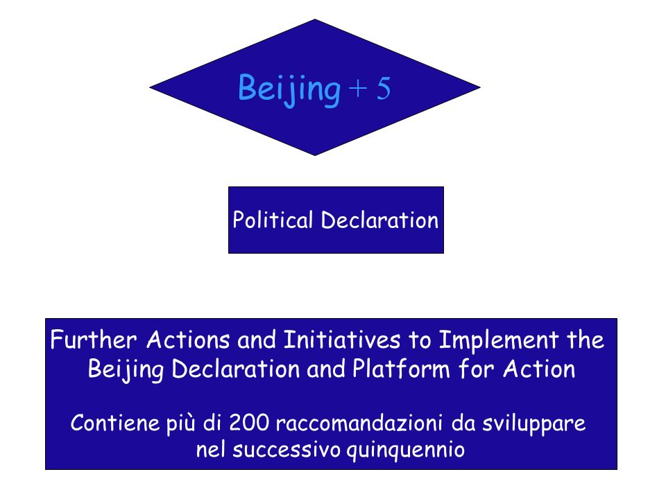 Beijing + 5 Political Declaration Further Actions and Initiatives to Implement the Beijing Declaration and Platform for Action Contiene più di 200 rac