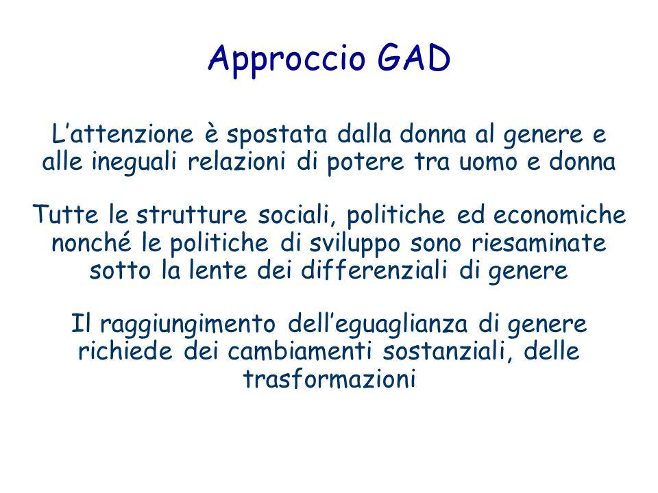 Approccio GAD Lattenzione è spostata dalla donna al genere e alle ineguali relazioni di potere tra uomo e donna Tutte le strutture sociali, politiche
