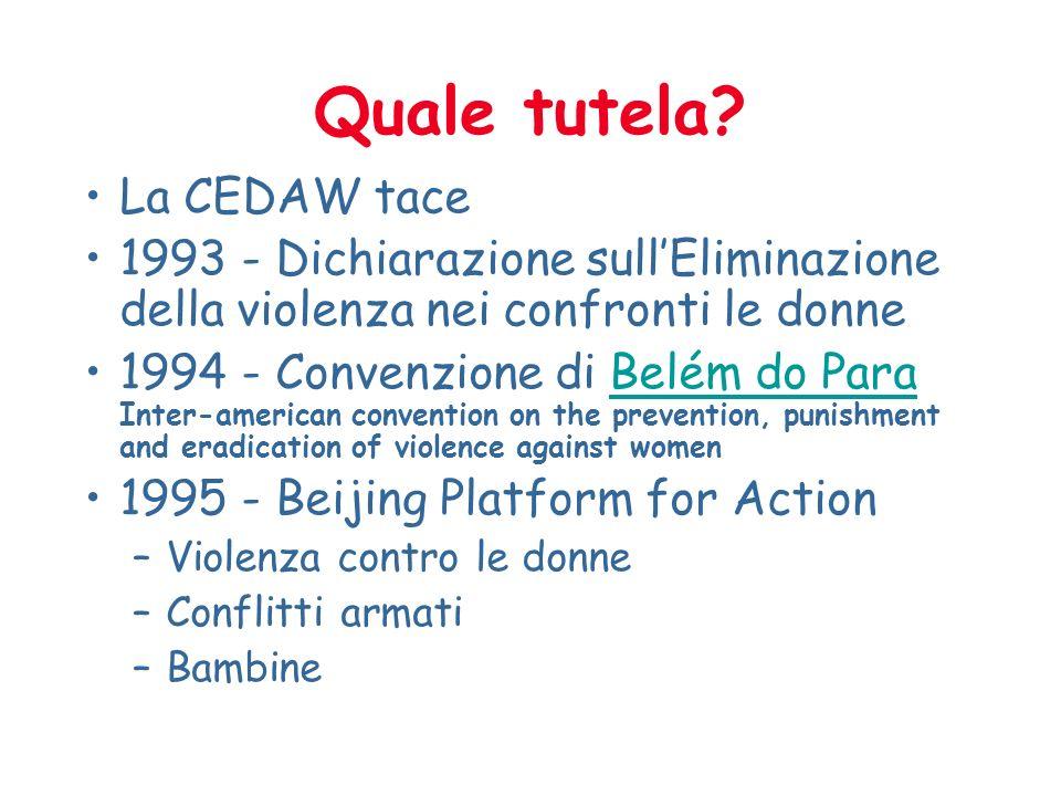 Quale tutela? La CEDAW tace 1993 - Dichiarazione sullEliminazione della violenza nei confronti le donne 1994 - Convenzione di Belém do Para Inter-amer
