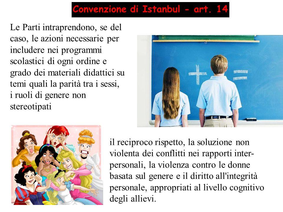 il reciproco rispetto, la soluzione non violenta dei conflitti nei rapporti inter- personali, la violenza contro le donne basata sul genere e il dirit