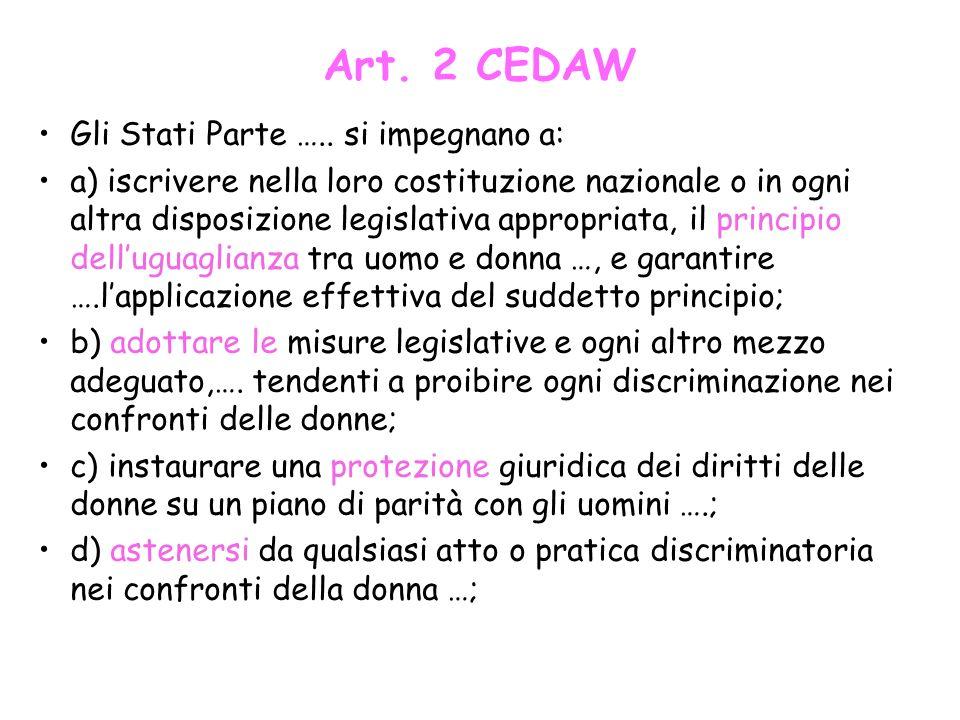 Art. 2 CEDAW Gli Stati Parte ….. si impegnano a: a) iscrivere nella loro costituzione nazionale o in ogni altra disposizione legislativa appropriata,