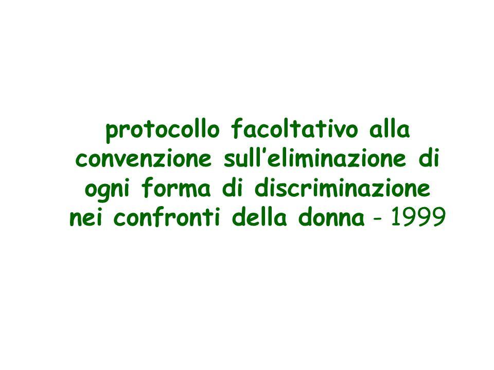 protocollo facoltativo alla convenzione sulleliminazione di ogni forma di discriminazione nei confronti della donna - 1999