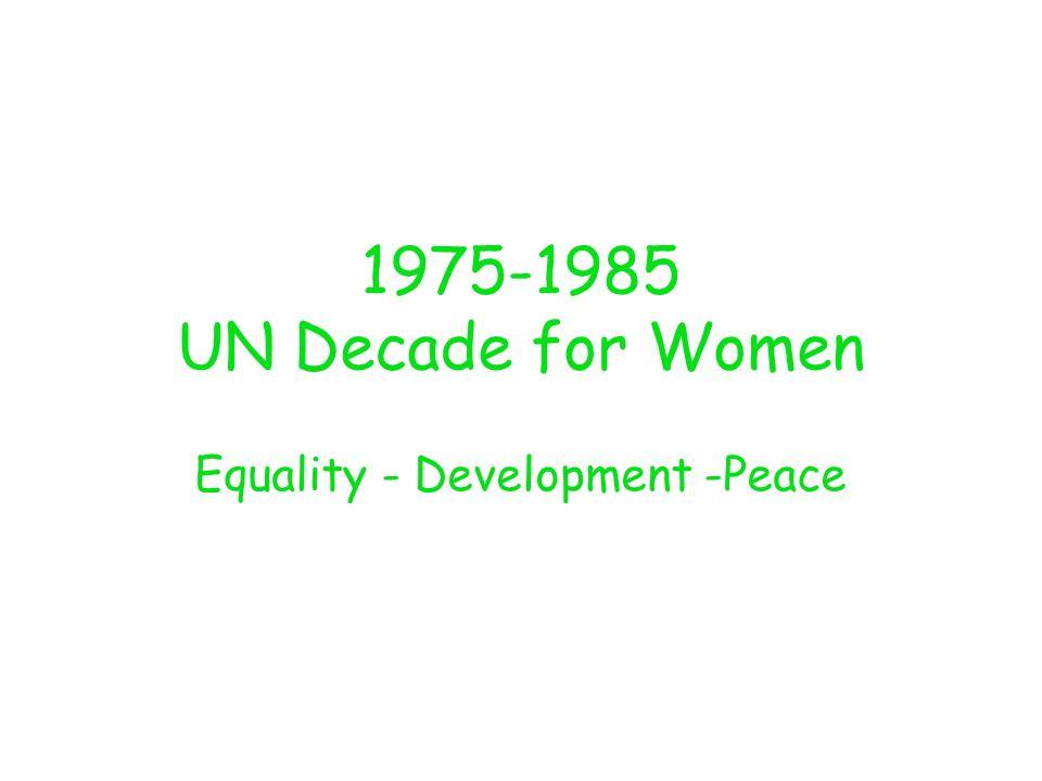 1975-1985 UN Decade for Women Equality - Development -Peace