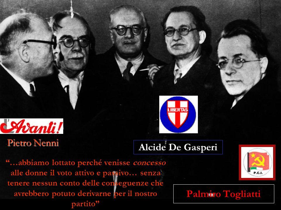 Palmiro Togliatti …abbiamo lottato perché venisse concesso alle donne il voto attivo e passivo… senza tenere nessun conto delle conseguenze che avrebb
