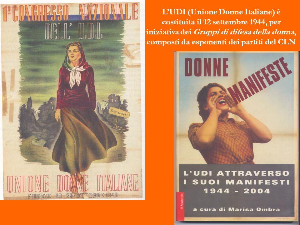 LUDI (Unione Donne Italiane) è costituita il 12 settembre 1944, per iniziativa dei Gruppi di difesa della donna, composti da esponenti dei partiti del