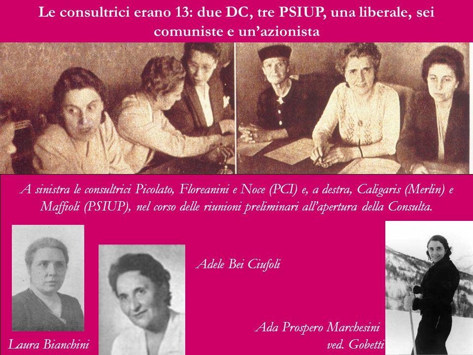A sinistra le consultrici Picolato, Floreanini e Noce (PCI) e, a destra, Caligaris (Merlin) e Maffioli (PSIUP), nel corso delle riunioni preliminari a