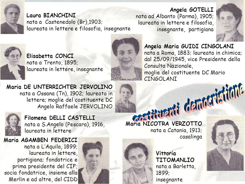Laura BIANCHINI nata a Castenedolo (Br),1903; laureata in lettere e filosofia, insegnante Elisabetta CONCI nata a Trento, 1895; laureata in lettere, i