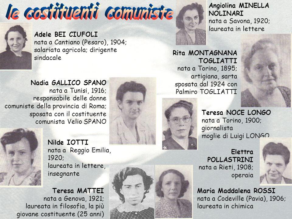 Elettra POLLASTRINI nata a Rieti, 1908; operaia Teresa NOCE LONGO nata a Torino, 1900; giornalista moglie di Luigi LONGO Maria Maddalena ROSSI nata a