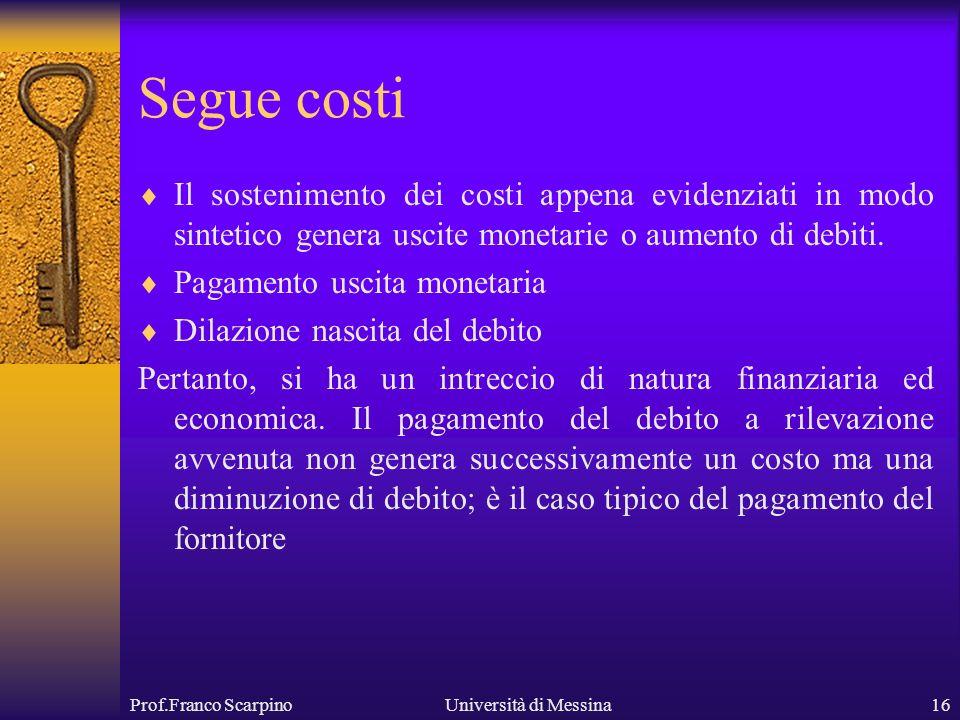 Prof.Franco ScarpinoUniversità di Messina16 Segue costi Il sostenimento dei costi appena evidenziati in modo sintetico genera uscite monetarie o aumento di debiti.