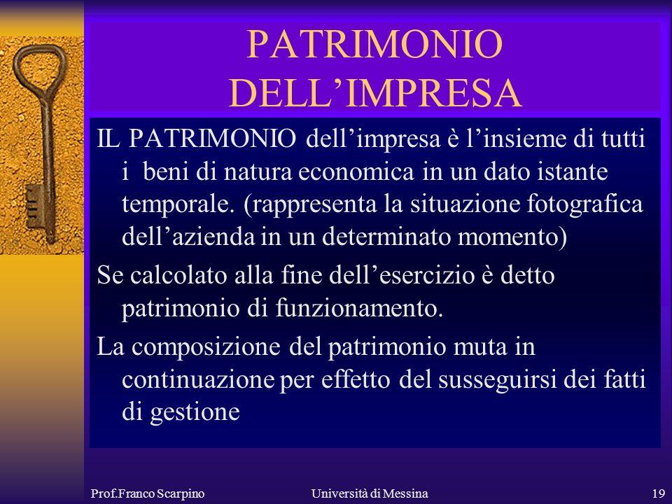 Prof.Franco ScarpinoUniversità di Messina19 PATRIMONIO DELLIMPRESA IL PATRIMONIO dellimpresa è linsieme di tutti i beni di natura economica in un dato istante temporale.