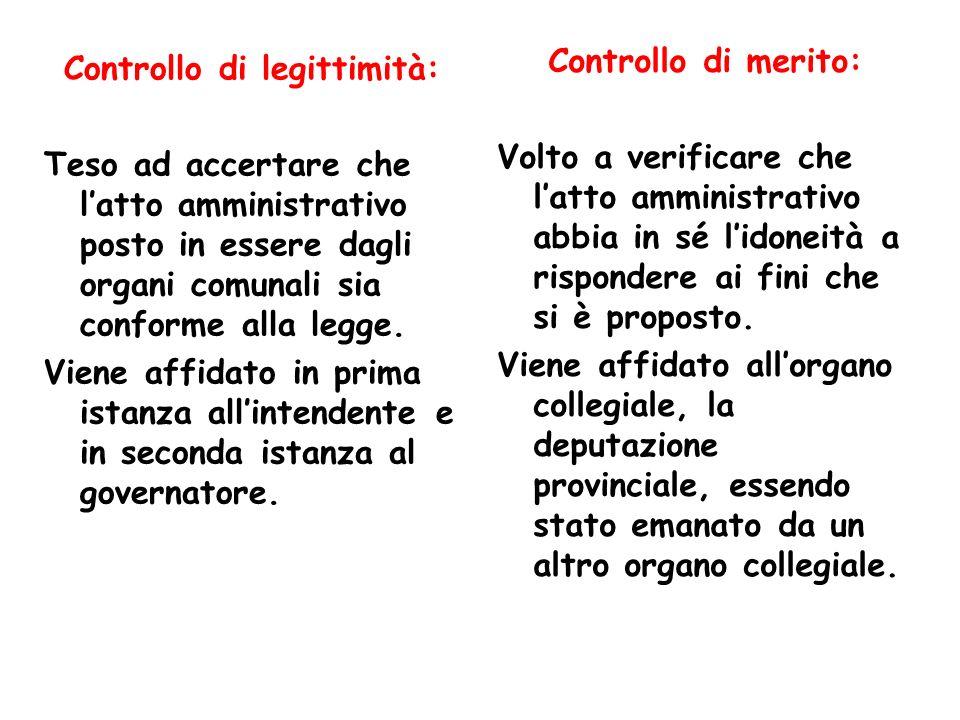 Controllo di legittimità: Teso ad accertare che latto amministrativo posto in essere dagli organi comunali sia conforme alla legge. Viene affidato in