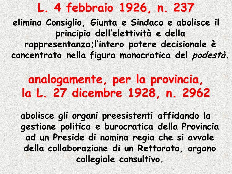 L. 4 febbraio 1926, n. 237 elimina Consiglio, Giunta e Sindaco e abolisce il principio dellelettività e della rappresentanza;lintero potere decisional