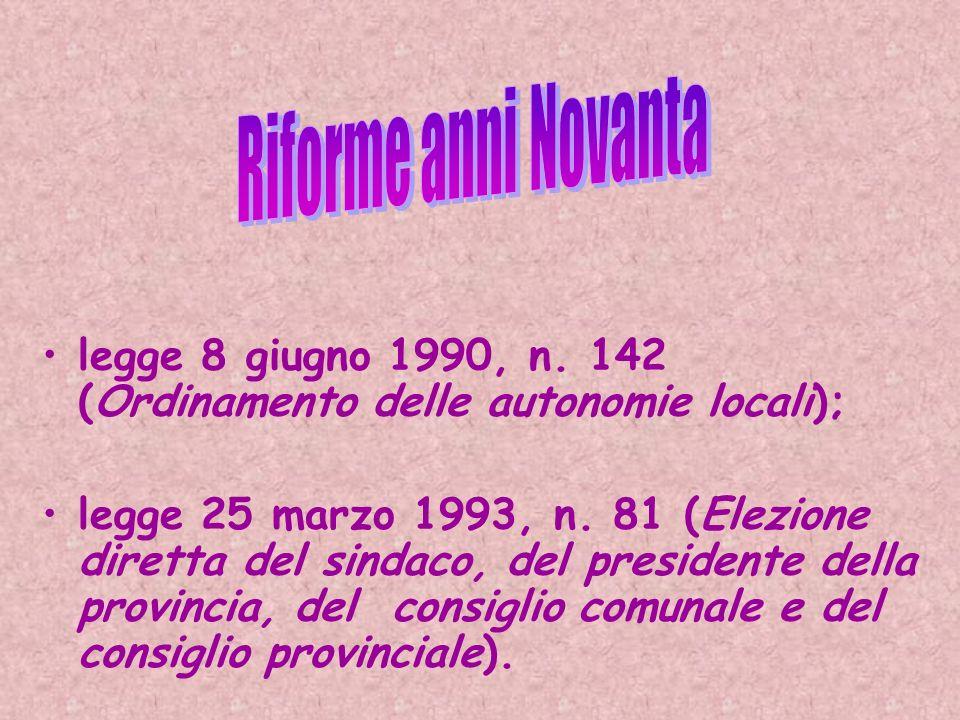legge 8 giugno 1990, n. 142 (Ordinamento delle autonomie locali); legge 25 marzo 1993, n. 81 (Elezione diretta del sindaco, del presidente della provi