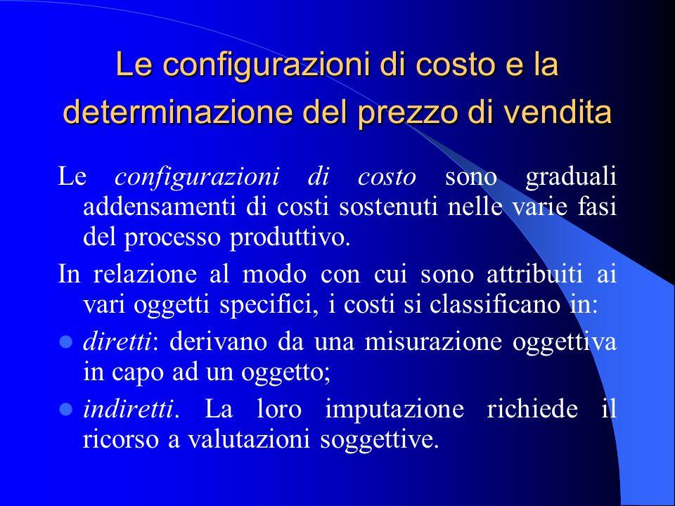 Le configurazioni di costo e la determinazione del prezzo di vendita Le configurazioni di costo sono graduali addensamenti di costi sostenuti nelle va