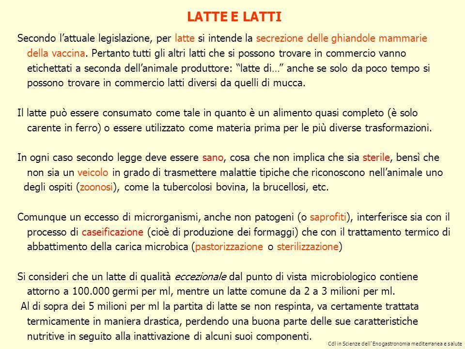 Secondo lattuale legislazione, per latte si intende la secrezione delle ghiandole mammarie della vaccina.