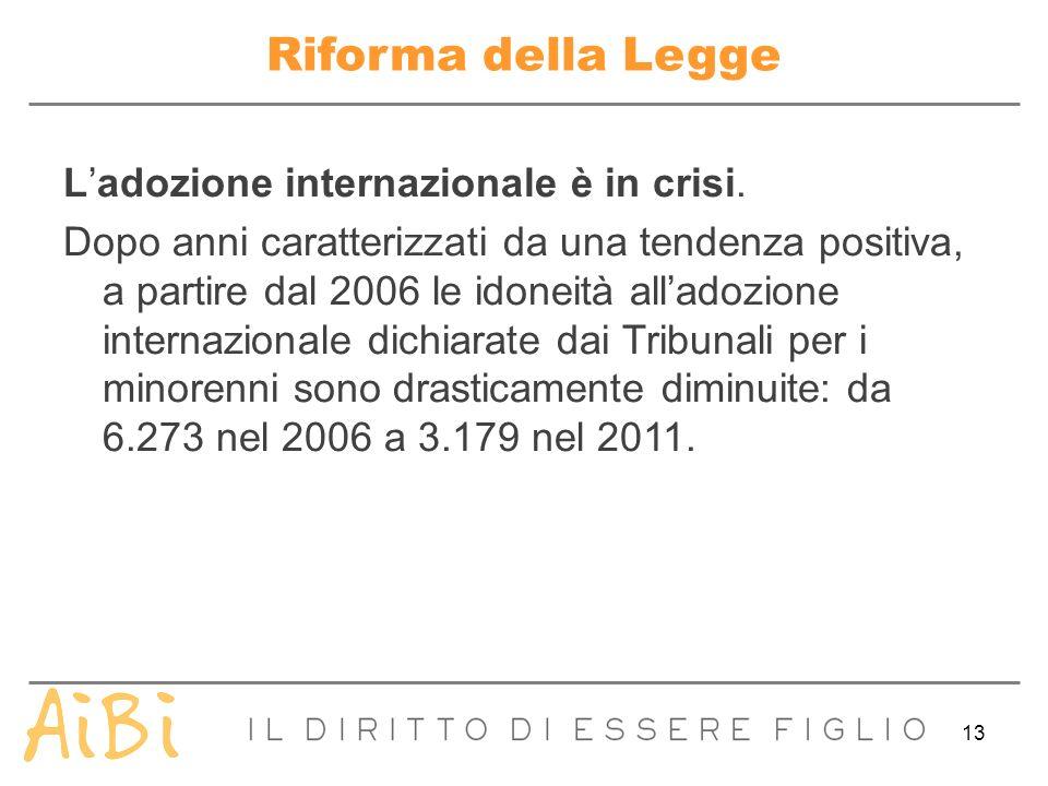13 Riforma della Legge Ladozione internazionale è in crisi. Dopo anni caratterizzati da una tendenza positiva, a partire dal 2006 le idoneità alladozi