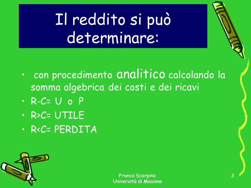 Franco Scarpino Università di Messina 3 Il reddito si può determinare: con procedimento analitico calcolando la somma algebrica dei costi e dei ricavi R-C= U o P R>C= UTILE R<C= PERDITA