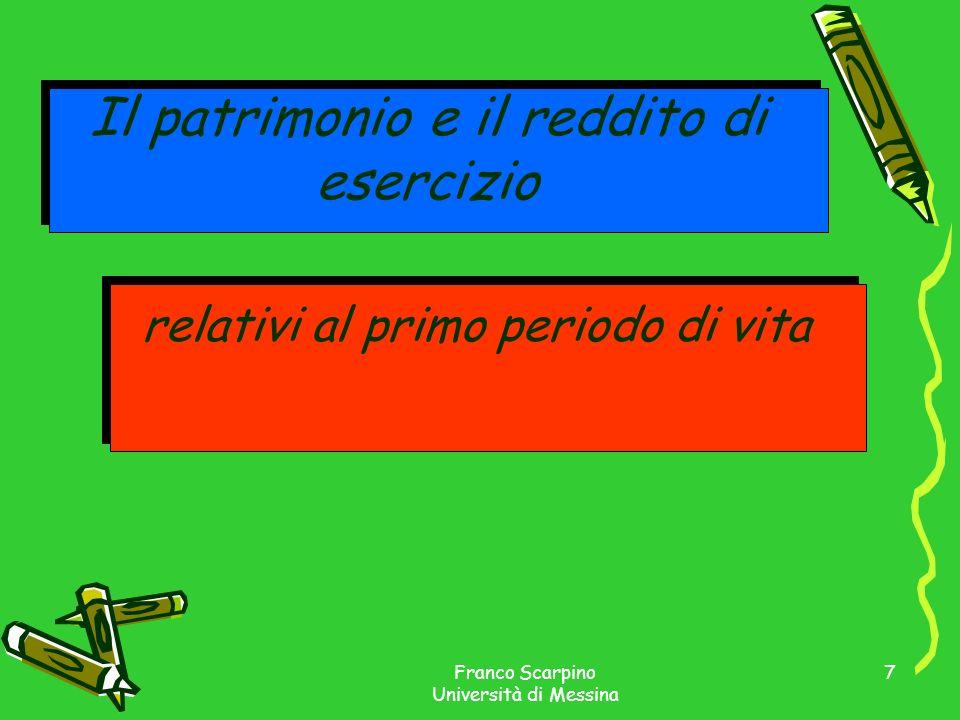 Franco Scarpino Università di Messina 7 Il patrimonio e il reddito di esercizio relativi al primo periodo di vita