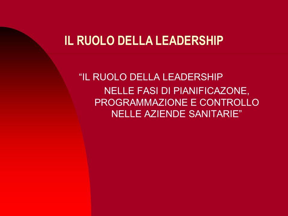 IL RUOLO DELLA LEADERSHIP NELLE FASI DI PIANIFICAZONE, PROGRAMMAZIONE E CONTROLLO NELLE AZIENDE SANITARIE