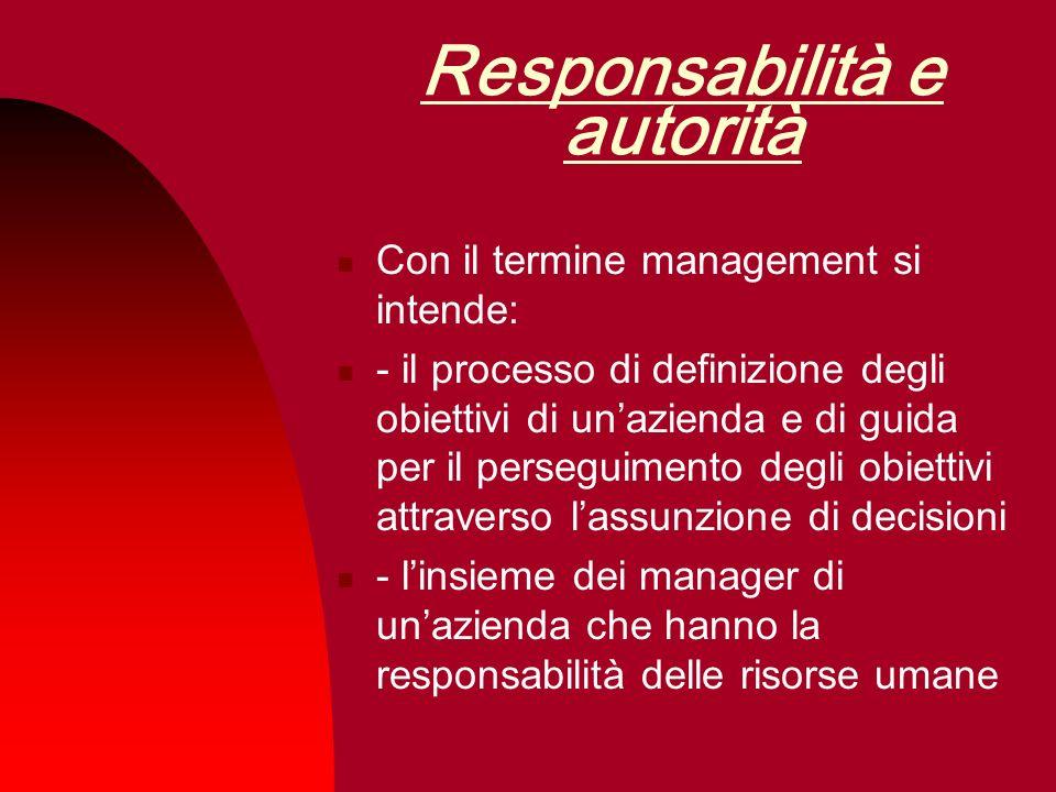 Responsabilità e autorità Con il termine management si intende: - il processo di definizione degli obiettivi di unazienda e di guida per il perseguime
