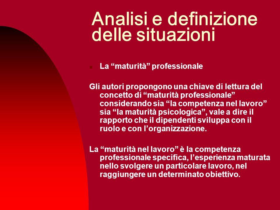Analisi e definizione delle situazioni La maturità professionale Gli autori propongono una chiave di lettura del concetto di maturità professionale co