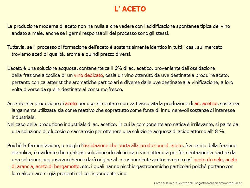 Corso di laurea in Scienze dell Enogastronomia mediterranea e Salute L ACETO La produzione moderna di aceto non ha nulla a che vedere con lacidificazi
