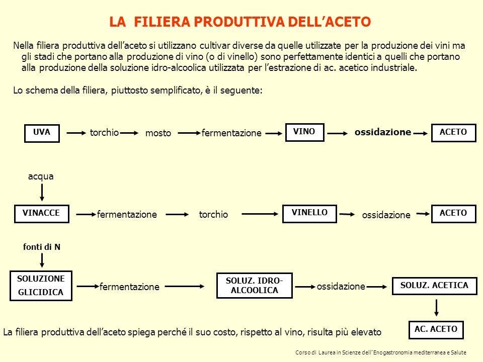 Corso di Laurea in Scienze dell Enogastronomia mediterranea e Salute LA FILIERA PRODUTTIVA DELLACETO Nella filiera produttiva dellaceto si utilizzano